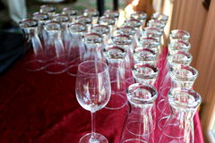 The Wineglasses are ready. Clean wineglasses are ready to be filled and savored by the guests Stock Photography