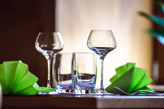 Wineglasses ready for the dinner Royalty Free Stock Image