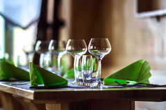 Wineglasses ready for the dinner Royalty Free Stock Photography