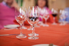 Wineglasses On Restaurant Table Stock Photo