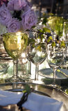 Wineglasses and roses Stock Photo
