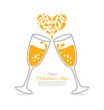 Wineglasses of Sparkling Champagne Happy Valentines Day Royalty Free Stock Image