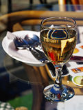 Wineglasses in street cafe Royalty Free Stock Images
