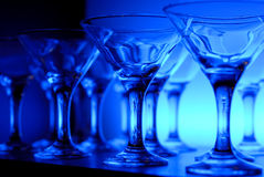 Wineglasses on the table in blue Stock Image