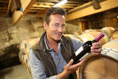 Winegrower in wine cellar with bottle of wine. Handsome winegrower holding bottle of red wine Royalty Free Stock Photo