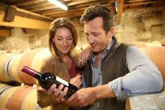 Winegrowers в винном погребе с бутылкой вина Стоковые Фото