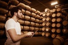 Winemaker подсчитывая бочонки с таблеткой в большом хранении Стоковые Фотографии RF