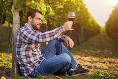 Winemaker die rode wijn proeven Stock Afbeelding
