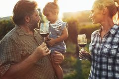 Winemaker family together in vineyard. Winemaker family happy together in vineyard before harvesting stock image