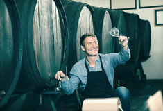 Winemaker holding glass of wine in cellar Royalty Free Stock Photo