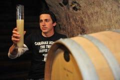 Winemaker in kelder Stock Foto's