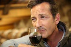 Winemaker sentant le vin rouge dans la cave Image libre de droits