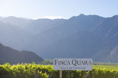 Winemaker sign Finca Quara with vineyards and mountains in Cafay Royalty Free Stock Photos