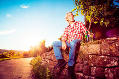 Winemaker Sitting By His Vineyard Stock Images