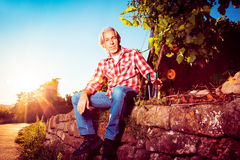 Winemaker Sitting By His Vineyard Royalty Free Stock Images