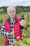 Winemaker standing by vineyard with bottle wine Stock Image