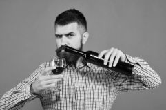 Winemaker with strict face holds wineglass and bottle of wine. Sommelier tastes expensive beverage. Viticulture and autumn concept. Man with beard pours wine stock images