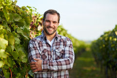 Winemaker in vineyard. Young winemaker in vineyard with arms crossed stock photography