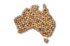 Winemakers χωρών - οι χάρτες από το κρασί βουλώνουν Χάρτης της Αυστραλίας επάνω Στοκ Εικόνες