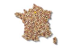 Winemakers χωρών - οι χάρτες από το κρασί βουλώνουν χάρτης της Γαλλίας Στοκ Φωτογραφία