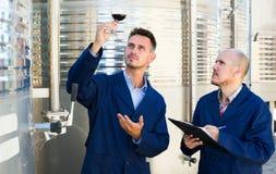 2 winemakers проверяя вверх по образцу вина в стекле Стоковые Фото
