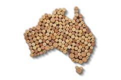 Winemakers van landen - de kaarten van wijn kurkt Kaart van Australië  Stock Afbeeldingen
