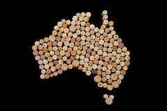 Winemakers van landen - de kaarten van wijn kurkt Kaart van Australië  Royalty-vrije Stock Foto's