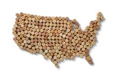 Winemakers van landen - de kaarten van wijn kurkt Kaart van de V.S. op wit Royalty-vrije Stock Afbeeldingen