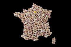 Winemakers van landen - de kaarten van wijn kurkt Kaart van Frankrijk op bl Stock Afbeeldingen