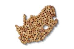 Winemakers van landen - de kaarten van wijn kurkt Kaart van Zuid-Afrika Royalty-vrije Stock Afbeelding