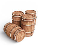 Winemaking barrel on white background 3d illustration. Wooden winemaking barrel on white background 3d illustration Stock Photo