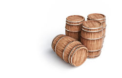 Winemaking barrel on white background 3d illustration. Wooden winemaking barrel on white background 3d illustration Royalty Free Stock Photos