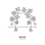Winemaking begrepp för design för logotyp för vinavsmakning Arkivfoton