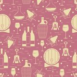 Winemaking design element on maroon background. Vector seamless pattern. Can be used for wallpaper, poster design, wrapping paper, surface texture, web Royalty Free Stock Photos