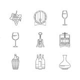 Winemaking icons set on white background. Collection of modern line style design element. Vector illustration, can be used for web page, banner, info graphics Stock Photo