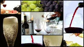 Winemaking montage. A collage including people harvesting grapes, red wine pouring into a glass and automatic bottling lines wine equipment detail stock footage