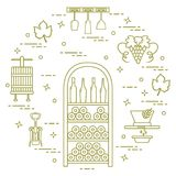 Winemaking: the production and storage of wine. Culture of drink royalty free illustration