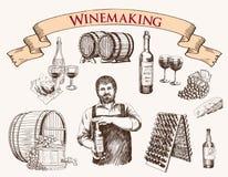 Winemaking produktionen av mousserande viner stock illustrationer