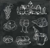Winemaking. set of vector sketches on black Stock Photos