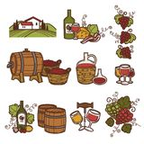 Winemaking or wine production viticulture icons set. Vector winery and vineyard farm, wine barrels or glass bottles and grape vintage harvest in winepress Stock Photo