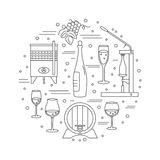 Winemaking, wine tasting graphic design concept Royalty Free Stock Image