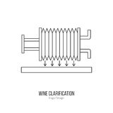 Winemaking, wine tasting logotype design concept. Wine filter pump system. Single logo in modern thin line style isolated on white background. Outline winery Stock Photography