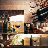Winemaking and wine tasting photo collage. Wine glasses and bottles, rustic cellar and vineyard, sommelier drinking excellent wines Stock Photo