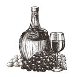 Winemaking, wine on a white background. sketch Royalty Free Stock Images