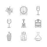 Winemakingsymbolsuppsättning på vit bakgrund Arkivfoto