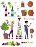 Winemakingsymbolsuppsättning Starkt vin för tappningelit royaltyfri illustrationer