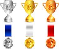 winer вектора медалей чашки иллюстрация штока