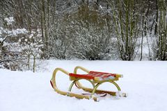 Winer, forest, sledge stock images
