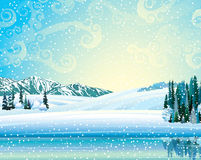 Winer landscape with forest and lake. Vector winter landscape with frozen forest, lake and mountains on a snowfall background Royalty Free Stock Photography