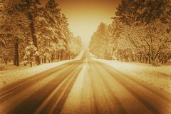 Winer Road in Sepia stock photography